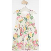 Vestido Floral Com Laã§O- Bege & Rosa- Pequena Maniapequena Mania