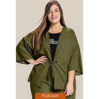 Kimono Plus Size Manga 3/4 Com Amarração Verde