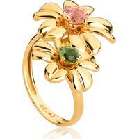 Anel De Ouro 18K Flor Com Gemas Turmalina Rosa E Turmalina Verde-Coleção Jardim Secreto