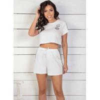 Pijama Branco Com Estampa E Faixa Decorativa