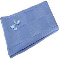 Manta Bebê Tricot Tricô Maternidade Recém Nascido Cod 1039.1 Azul