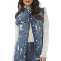 584fd0c568 ... Colete Jeans Denim Zero Destroyed Feminino - Feminino-Jeans