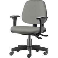 Cadeira Job Com Bracos Assento Crepe Cinza Claro Base Rodizio Metalico Preto - 54602 - Sun House
