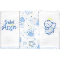 Kit 3 Fraldas De Boca Bordadas Bebê Anjo Azul - Minasrey