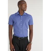 15a481df15 CEA  Camisa Masculina Comfort Estampada Xadrez Com Bolso Manga Curta Azul
