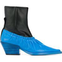 Joseph Ankle Boot Color Block De Couro - Preto