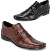 Kit 2 Pares Sapato Social Couro Super Confortável Masculino - Masculino-Preto