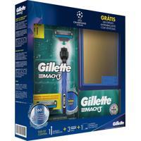 Kit Aparelho De Barbear Gillette Mach 3 Acqua Grip + Refis Grátis Espelho 1 Unidade