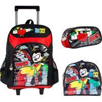 Kit Escolar Mochilete Lancheira E Estojo Teen Titans Go