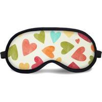 Máscara De Dormir Tritengo Multicorações - Unissex-Off White+Bege