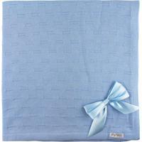 Manta De Tricot Michele Baby Para Bebê Azul Claro Risquinhos Com Laços.. - Kanui