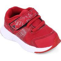 Tênis Infantil No Estress Running Com Cadarço E Velcro - Feminino-Vermelho