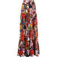 M Missoni Floral Print Full Skirt - Vermelho
