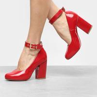 Scarpin Griffe Salto Alto Tira - Feminino-Vermelho