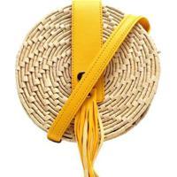 Bolsa Cantil Palha Feminina - Feminino-Amarelo