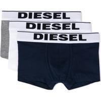 Diesel Kids Conjunto 3 Cuecas Boxer Com Logo No Cós - Azul