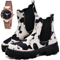 Bota Coturno Tratorada Estampa Cow Fashion Com Relógio Gold Feminino Dubuy 1504El Preto