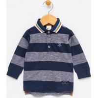 Camiseta Infantil Gola Polo Listrada Com Bordado - Tam 0 A 18 Meses