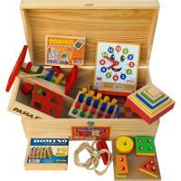Baú Pedagógico Com 10 Jogos De Madeira