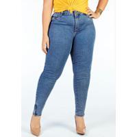 Calça Jeans Cigarrete Com Fenda Plus Size Sawary