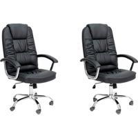 Conjunto Com 2 Cadeiras De Escritório Presidente Finland Preto