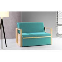 Sofá Cama Compacto Para Casal Akropi - Sofá Bicama Estofado Verniz Natural Tecido Azul Turquesa - 128X90X85Cm