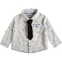 Camisa Geomã©Trica Com Gravata- Cinza Claro & Pretatip Top