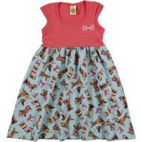 Vestido Infantil Para Menina - Rosa/Verde