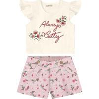 Conjunto De Blusa + Short Floral - Branco & Rosa Claro