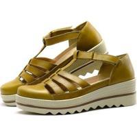Sandália Plataforma Em Couro Sapatofran Com Velcro Feminina - Feminino-Amarelo