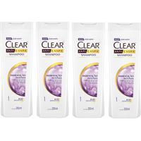Kit Shampoo Anticaspa Clear Women Hidratação Intensa 200Ml 4 Unidades - Feminino-Incolor