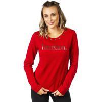 Blusão Decote Redondo Vermelho Com Ilhós