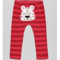 Calça Infantil Tigre Listrada Vermelha