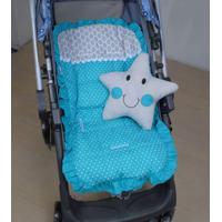 Capa De Carrinho De Bebê Azul Com Almofada Estrela - 2 Peças