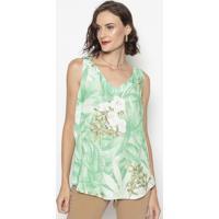 Blusa Floral Com Recorte- Verde & Branca- Cotton Colcotton Colors Extra