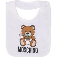 Moschino Kids Babador Com Estampa - Branco