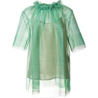 Stella Mccartney Blusa Translúcida Com Franzido - Verde
