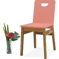 Cadeira Para Cozinha Tucupi 40X51X81Cm - Acabamento Stain Nózes E Rosa Coral