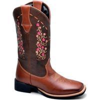 Bota Top Franca Shoes Texana - Feminino-Marrom+Rosa