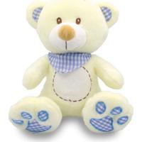 Urso De Pelúcia Com Babador Xadrez 25Cm - Azul - Unik Toys
