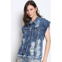 Colete Jeans Destroyed Com Rebites- Azuldimy