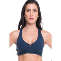 Top Sandy Fitness Power Azul Marinho - Azul - Feminino - Dafiti