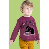 Camiseta Bebê Menino Manga Longa Com Capuz E Estampa Flock Puc