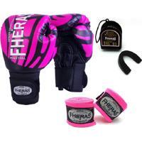 Kit Boxe Muay Thai Fheras New Top Luva + Bandagem Elite Rosa 007