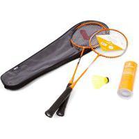 Kit Badminton 2 Raquetes 3 Petecas Vollo