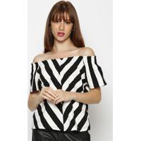 Blusa Ciganinha Listrada- Preta & Brancahering