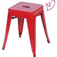 Jogo De Banquetas Retro Baixa- Vermelho- 2Pã§S- Oor Design