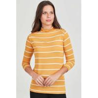 Blusa Malha Listrada Rubinella Detalhe Ombro Feminina - Feminino-Amarelo