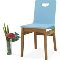 Cadeira Para Mesa De Jantar Tucupi 40X51X81Cm - Acabamento Stain Nózes E Azul Bebê