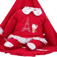 Saída De Maternidade Mydouu Paris Luvas E Tiara Vermelha